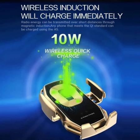 Suport pentru telefon auto A5, cu incarcare wireless si fixare cu senzor, 10W [9]