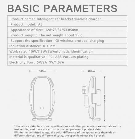 Suport pentru telefon auto A5, cu incarcare wireless si fixare cu senzor, 10W [6]