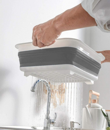 Suport pentru vase cu scurgator pliabil din silicon si plastic [3]