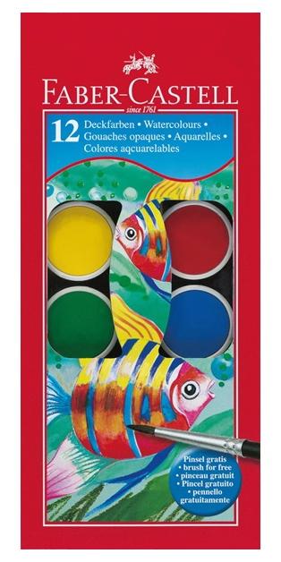 Acuarele 12 Culori 30 mm + Pensulă Faber-Castell [0]