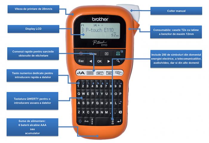 Brother PT-E110VP, Imprimantă de Etichete pentru Electricieni  P-touch [1]