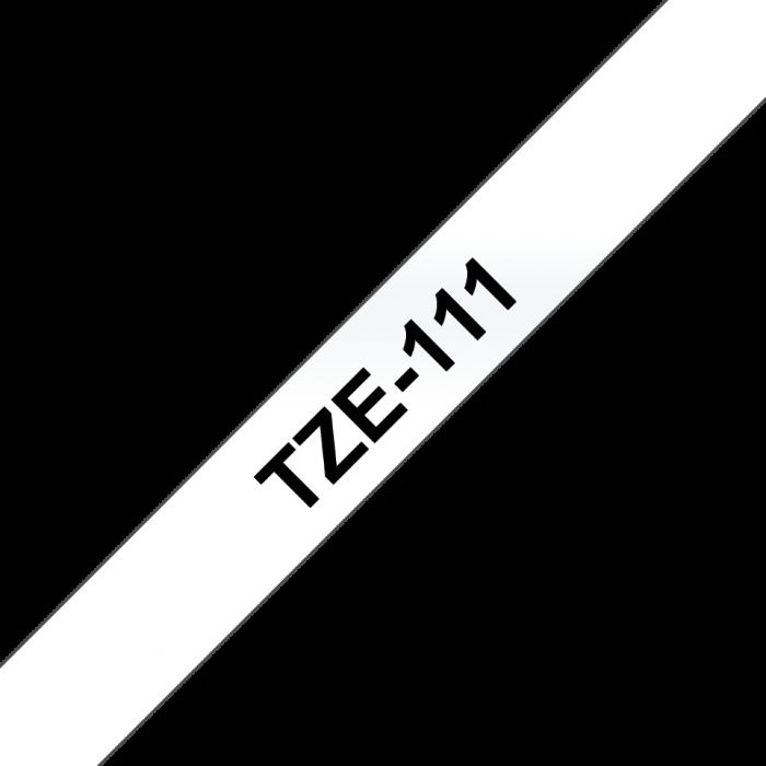 Brother TZe-111, Bandă Etichete Laminată, negru pe transparent, 6 mm [2]