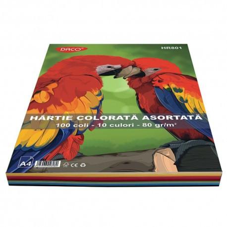 Hârtie Colorată  80gr A4 100 coli / 10 culori Daco [0]