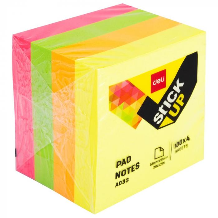 Notes Adeziv 51x51mm Neon 400 file Deli [0]