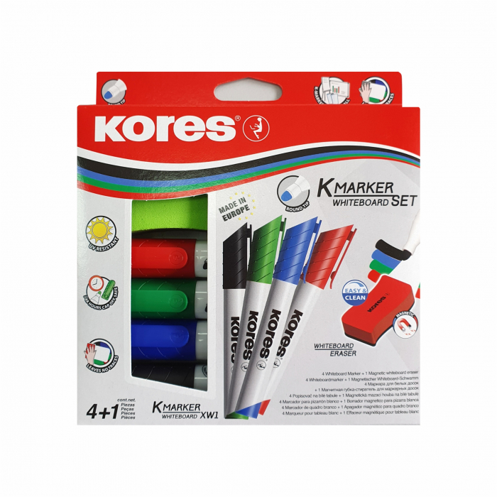 Set 4 Markere Whiteboard + Burete Magnetic Kores [0]