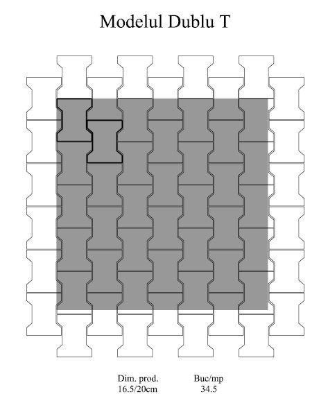 Pavaj Dublu T T1, ciment, 16.5 x 20 cm, grosime 6 cm 3
