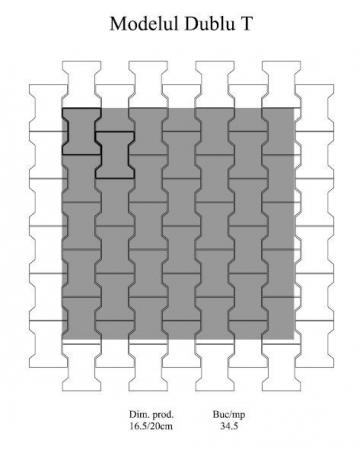 Pavaj Dublu T T1, ciment, 16.5 x 20 cm, grosime 6 cm3