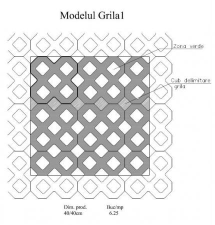 Pavaj Grila 1, gri-ciment, 40 x 40 cm, grosime 8 cm [5]