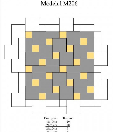 Pavaj Pavaj Patrat P4, alb-crem, 40 x 40 cm, grosime 6 cm, alb-crem, 40 x 40 cm, grosime 6 cm [4]