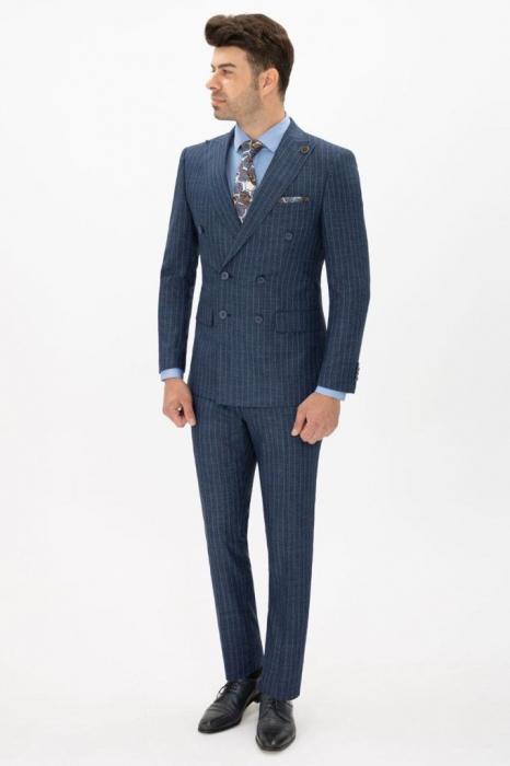 Costum bleumarin cu dungi fine [0]