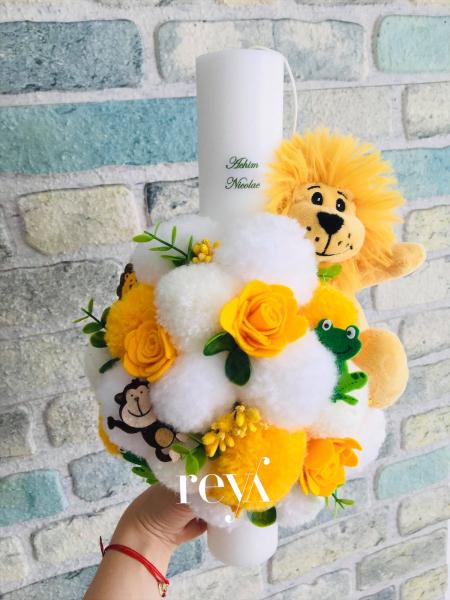Lumanare botez Yellow Lion [0]