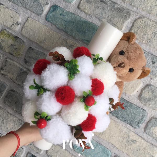 Lumanare botez White&Red Bear [0]