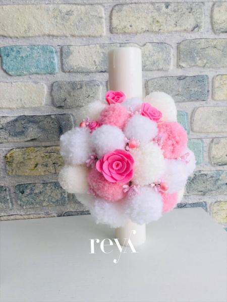 Lumanare botez Pink Flower [0]