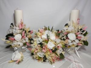 Set complet lumanari buchet si floare pentru mire
