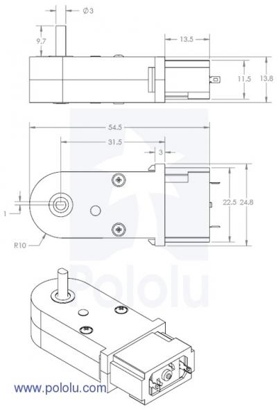 Motor cu cutie de viteze 120:1 tip Pololu 2