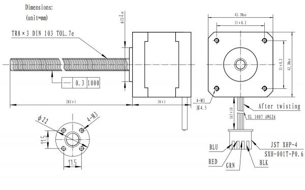 Motor Stepper NEMA 17 cu surub  Bipolar, 200 pasi, 42×38mm, 2.8V, 1.7 A/Faza 1