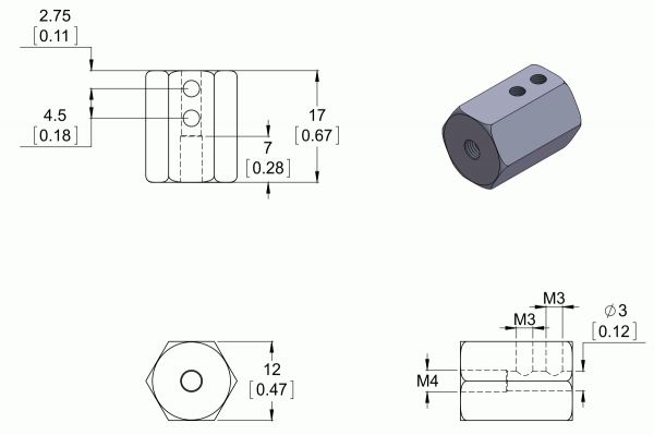 Adaptor pentru ax 3mm lungime 12mm [2]