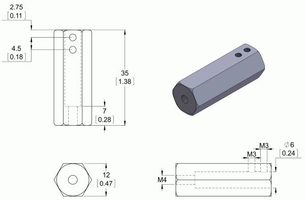 Adaptor pentru ax de 6mm la ax de 12mm. Lungime 35mm 2