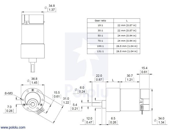 Motor 500 RPM 19:1 cu encoder Pololu 6