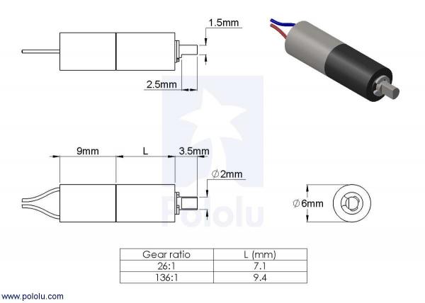 26:1 Sub-Micro  Motor cu cutie de viteza 6Dx16L mm 1