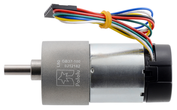 Pololu motor electric metalic 24V, 1001, 37Dx73L, pinion elicoidal 1