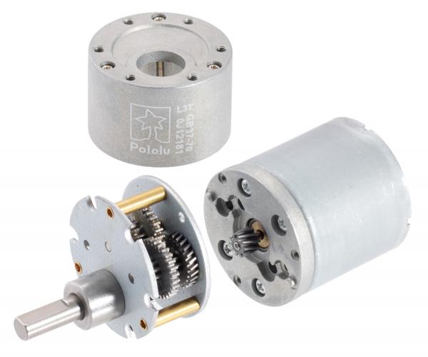 Pololu motor electric metalic 24V, 1001, 37Dx73L, pinion elicoidal 8
