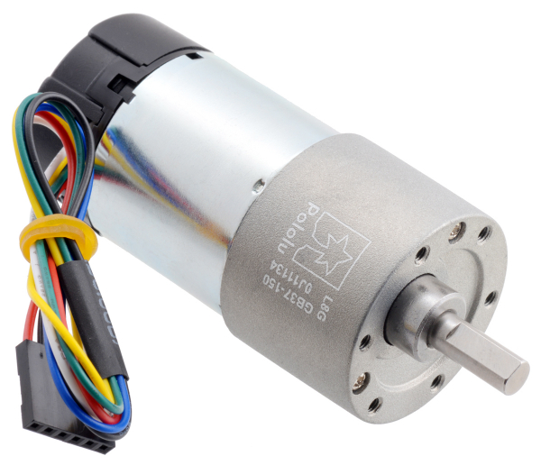 Pololu motor electric metalic 24V, 150:1, 37Dx73L, pinion elicoidal, encoder 0