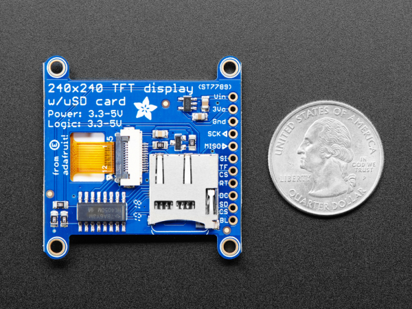 "Display TFT LCD Adafruit ST7789 de 1.54"", 240x240 pixeli,  slot microSD [6]"