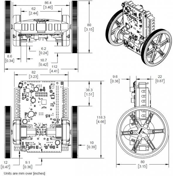 Balboa 32U4 Self Balancing Robot Kit (Fara motoare si fara Roti) 11