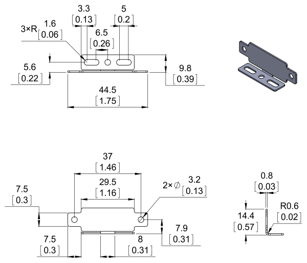 Bracket Pair for Sharp GP2Y0A02, GP2Y0A21, and GP2Y0A41 Distance Sensors - Parallel 2