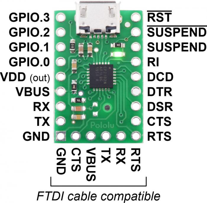 Breakout adaptor USB-la-serial Pololu CP2102N 2