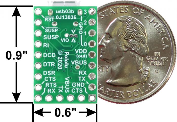 Breakout adaptor USB-la-serial Pololu CP2102N 5