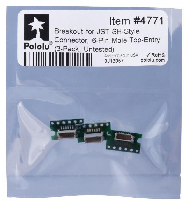 Breakout Pololu conector JST SH, intrare superioara tata cu 6 pini - 3 buc [6]