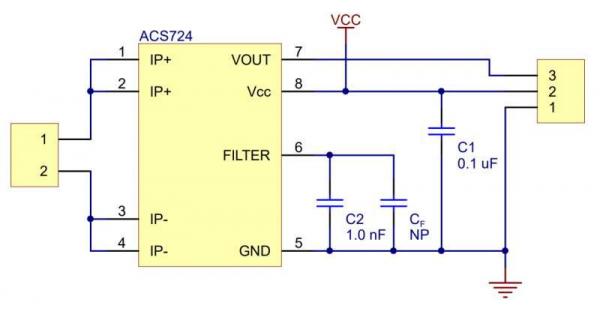 Breakout senzor de curent  ACS724 0A/+30A 4
