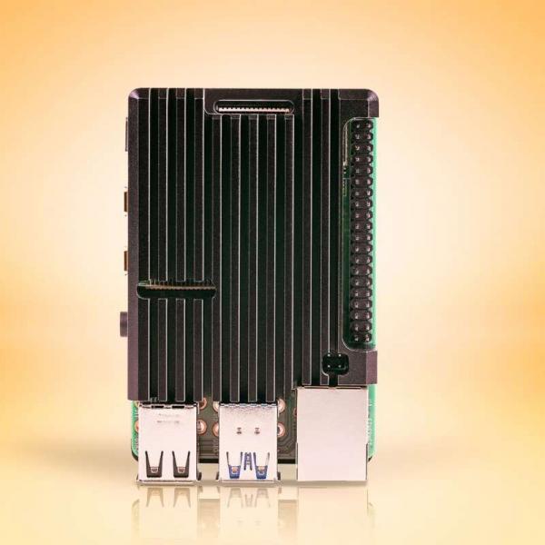 Carcasa radiator Pimoroni din aluminiu pentru Raspberry Pi 4 - Negru 2