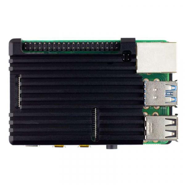 Carcasa radiator Pimoroni din aluminiu pentru Raspberry Pi 4 - Negru 1