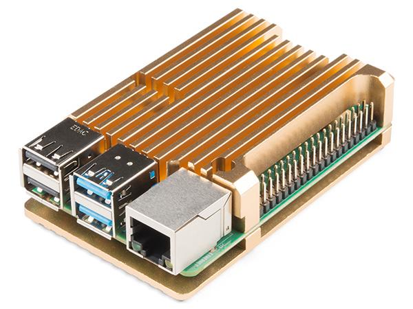 Carcasa radiator Pimoroni din aluminiu pentru Raspberry Pi 4 - Gold 0