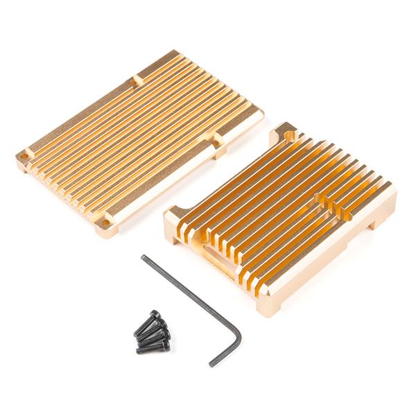 Carcasa radiator Pimoroni din aluminiu pentru Raspberry Pi 4 - Gold 1