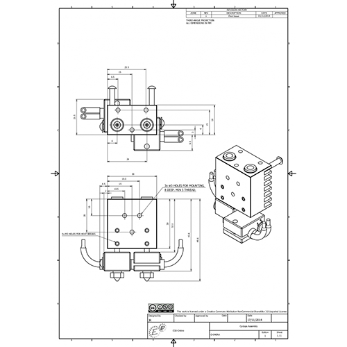 Kit extrudor Dual Chimera Plus cu Hot end si dubla extrudare, racire cu aer, 12V 6