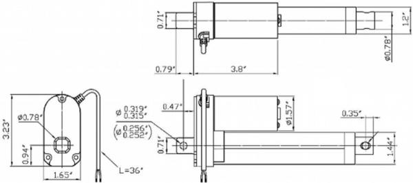 Actuator liniar cu LACT4P-12V-20 cu feedback  10.16cm Stroke, 12V, 1.27 cm/s 4