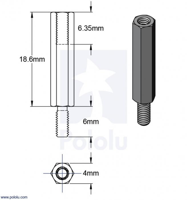 Distantiere din aluminiu pentru Raspberry Pi 18.6mm x 6mm M2.5 - 4 buc [2]