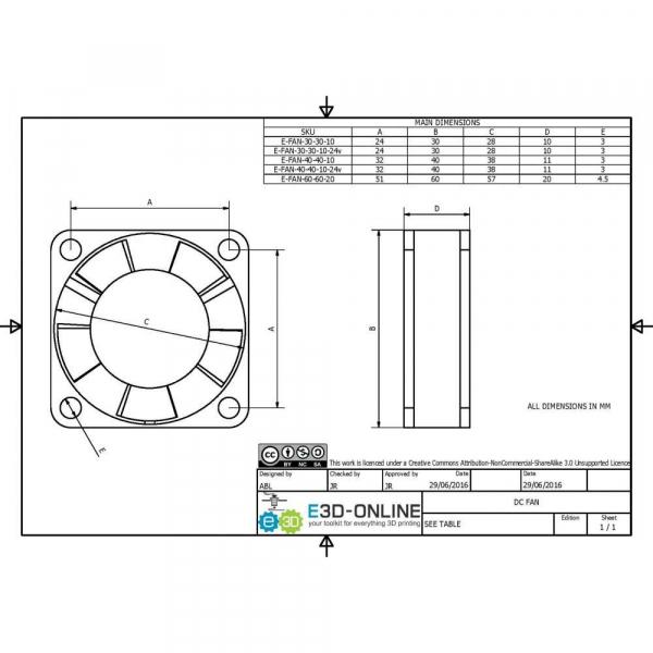12v DC Fan - 30x30x10mm 1