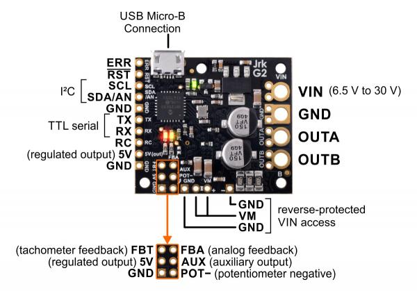 Controlor de motor USB Jrk G2 18v19 cu feedback 8