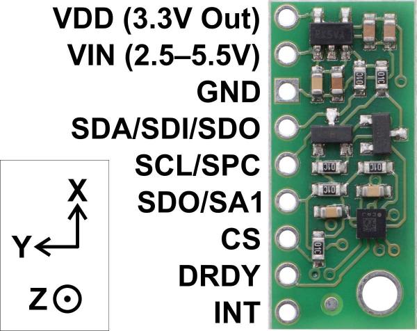 Magnetometru pe 3 Axe cu Regulator de tensiune - LIS2MDL 2
