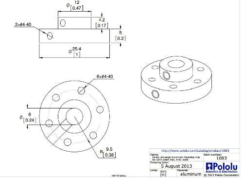 Conector roata motor 6 mm 5