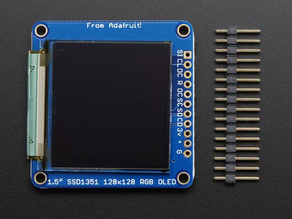 """OLED Breakout Board - 16-bit Color 1.5"""" w/microSD 1"""