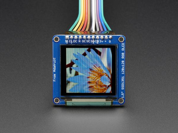 """OLED Breakout Board - 16-bit Color 1.5"""" w/microSD 3"""
