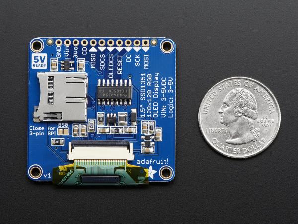 """OLED Breakout Board - 16-bit Color 1.5"""" w/microSD 2"""