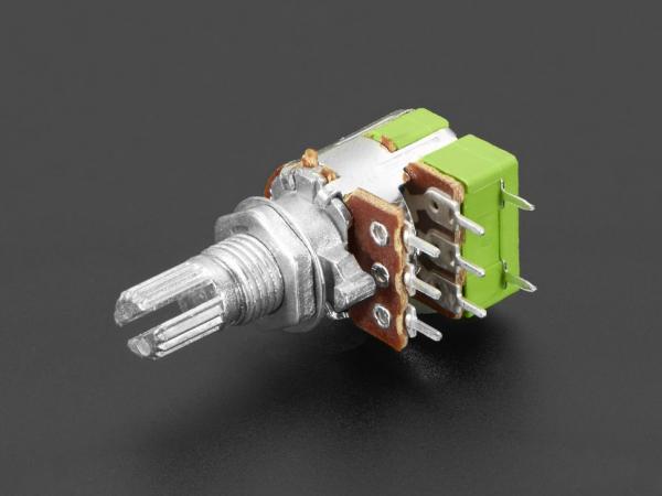 Potentiometru de 10K, liniar, dublu, cu montaj pe panou si comutator 0