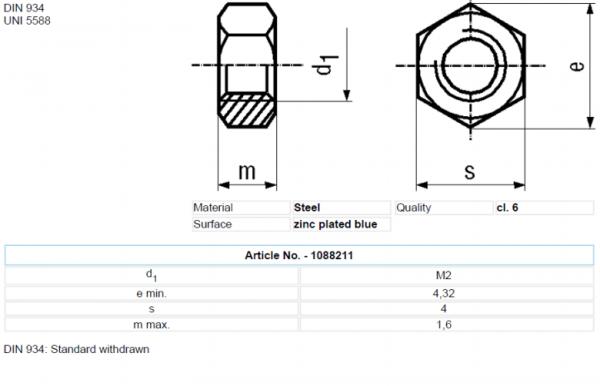 Set piulita otel 2mm (M2) (10 bucati) 1